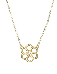 Lord And Taylor 14 Kt. Yellow Gold Flower Silhouette Charm Necklace