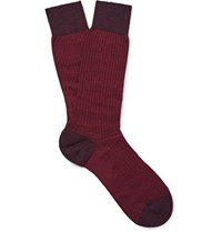 Pantherella Finsbury Herringbone Erino Wool Blend Socks Burgundy