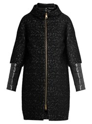 Herno Detachable Sleeved Funnel Neck Boucle Coat Black White