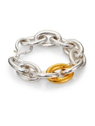 Gurhan Galahad 24K Yellow Gold And Sterling Silver Large Oval Link Bracelet Silver Gold