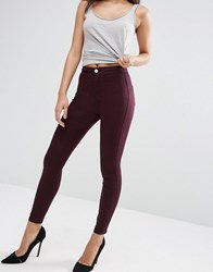 Asos Rivington High Waist Denim Jegging In Oxblood Oxblood