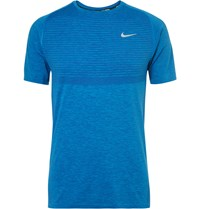 Nike Dri Fit Knit Running T Shirt Blue