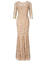 Ariella Indi Long 3 4 Slve Beaded Dress Gold