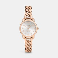 Coach Delancey Rose Gold Plated Chain Link Bracelet Watch Rosegold