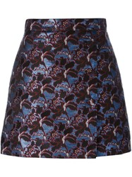 Msgm Jacquard Straight Short Skirt Blue