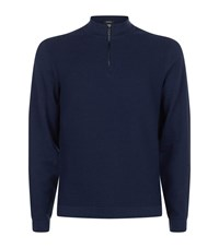 Boss Waffled Cotton And Wool Zip Neck Sweater Male Navy