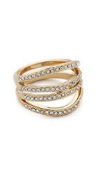 Rebecca Minkoff Safari Haze Four Band Ring Gold Crystal