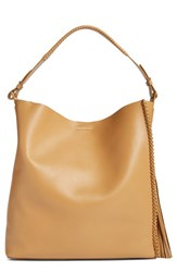 Allsaints 'Pearl' Leather Hobo Brown Light Caramel