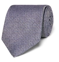 Kingsman Drake's Herringbone Silk And Linen Blend Tie Blue