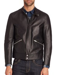 Burberry Solid Lamb Leather Jacket Black