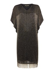 Biba Luxe Fully Beaded Tassel Detail Dress Black