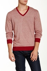 Ben Sherman Geo V Neck Sweater Red