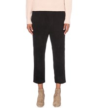 Vince Track Straight Suede Trousers Black