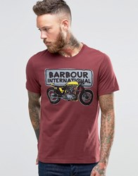 Barbour T Shirt With Motorcycle Sketch In Red Ruby