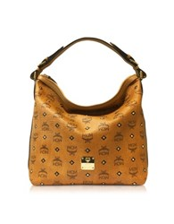 Mcm Gold Visetos Cognac Small Hobo Bag