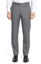 Nordstrom Men's Men's Shop Flat Front Check Wool Trousers Grey