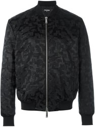 Dsquared2 Smudge Pattern Bomber Jacket Black
