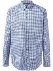 Hugo Boss Checked Long Sleeve Shirt Blue