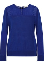 Sandro Sally Lace Trimmed Merino Wool And Cashmere Blend Sweater Blue