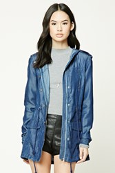 Forever 21 Hooded Chambray Utility Jacket Dark Blue
