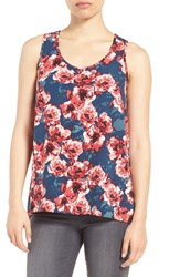 Halogenr Women's Halogen Scoop Neck Woven Tank Teal Rose Floral