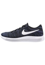 Nike Performance Lunarepic Flyknit Cushioned Running Shoes Black White Dark Purple Dust