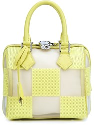 Louis Vuitton Vintage 'Speedy' Optic Mesh Cube Tote Yellow And Orange