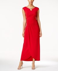 Connected Embellished Faux Wrap Gown Red