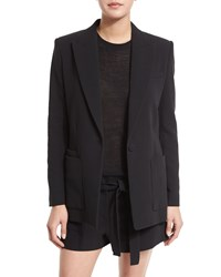 Helmut Lang Double Weave Cotton Single Button Blazer Black Size 8