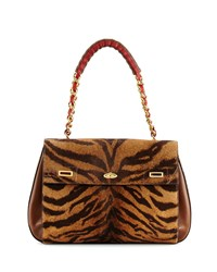 Vbh Id Tiger Print Calf Hair Shoulder Bag Women's