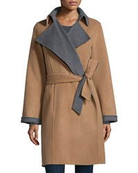 Neiman Marcus Double Face Belted Wool Blend Coat