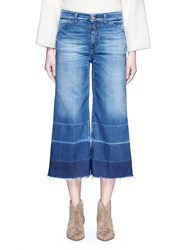 Closed 'Niki' Frayed Ombre Cuff Cropped Flare Denim Pants Blue