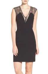 Aidan Mattox Women's By Lace And Crepe Sheath Dress Black