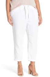 Plus Size Women's Caslon Linen Tie Front Crop Pants White