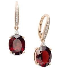 Macy's Garnet 6 Ct. T.W. And Diamond Accent Oval Earrings In 14K Rose Gold
