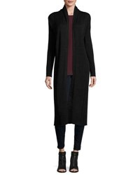 Max Studio Long Sleeve Open Front Long Cardigan Black