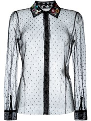 Red Valentino Embroidered Collar Tulle Shirt Black