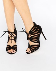 Faith Lana Black Ghillie Heeled Sandals Black