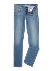 7 For All Mankind Slimmy Ny Medium Wash Slim Fit Stretch Jeans Denim Mid Wash