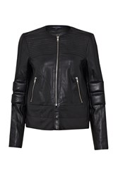 French Connection Jetson Leather Biker Jacket Black