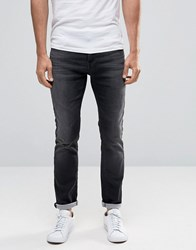 Selected Homme Grey Wash Skinny Jersey Jeans In Super Stretch Black