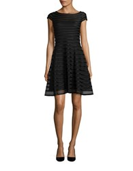 Betsy And Adam Cap Sleeve Mesh Fit Flare Dress Black