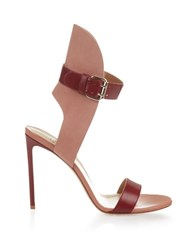 Francesco Russo Bi Colour Leather And Suede Sandals Red Multi
