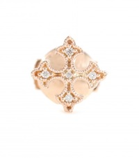 Stone Passion Button 18Kt Rose Gold Single Earring With Diamonds