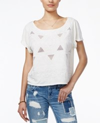 Miss Me Embroidered Mesh Inset Top Off White