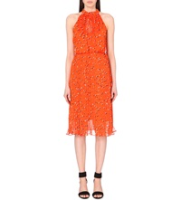 Karen Millen Polka Dot Chiffon Dress Bright Orange