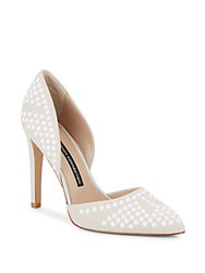 French Connection Maggie Studded Leather Pumps Winter White