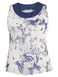 Chesca Butterfly Print Silk Camisole Ivory Blue