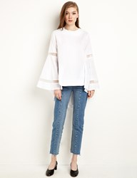 Pixie Market White Bell Sleeve Organza Panel Top