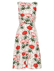 Erdem Maia Carnation Print Sleeveless Dress Red White